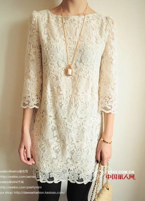 透视镂空蕾丝长衫搭配  做个浪漫的完美主义者
