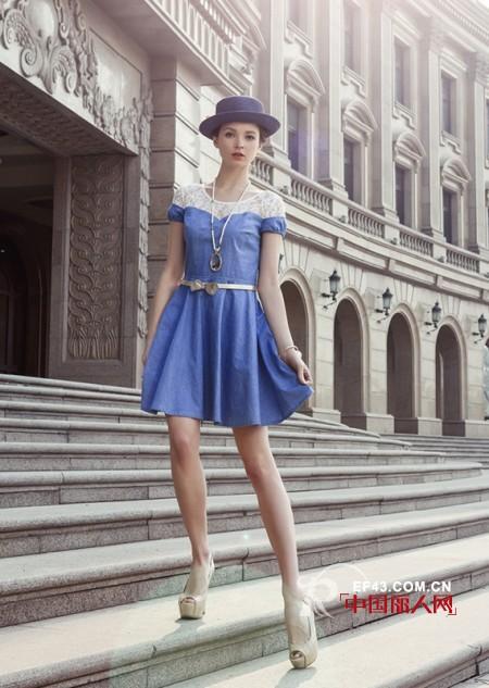 寶藍色連衣裙蕾絲拼接 紫色歐根紗修身裙高雅氣質