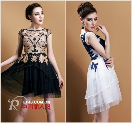 土豪金刺绣+欧根纱连衣裙 精致装扮造就女人高品位