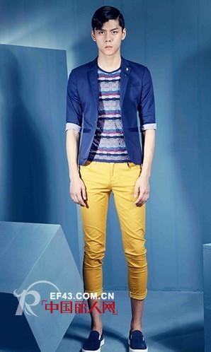 明黄色七分裤搭配蓝色小西装好看吗?蓝色碎花衬衫搭配什么颜色的裤子