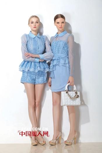 珈姿·莱尔女装浅蓝色欧根纱连衣裙  甜美造型留住夏天