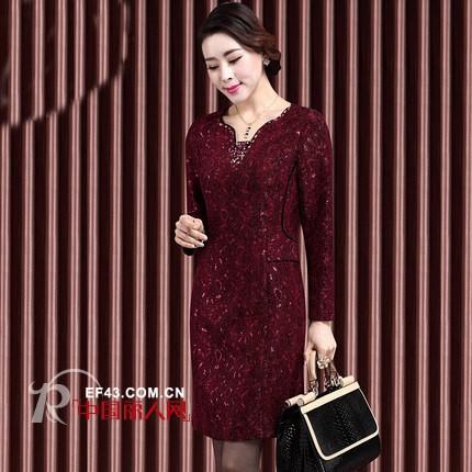 甘夫人原创大牌热卖连衣裙 中老年秋季连衣裙新款