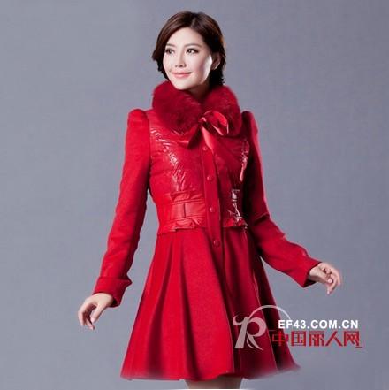 冬季适合新娘穿的外套 新娘红色外套款式图片