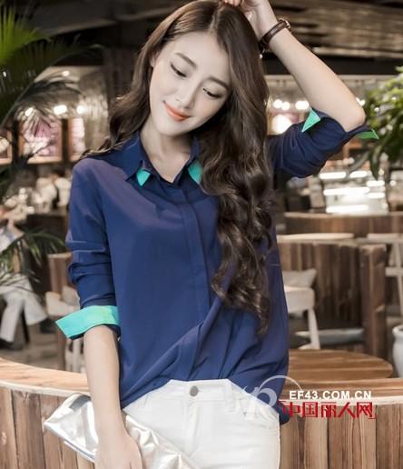 深蓝色衬衫搭配白色高腰裤 十一必备修身牛仔裙