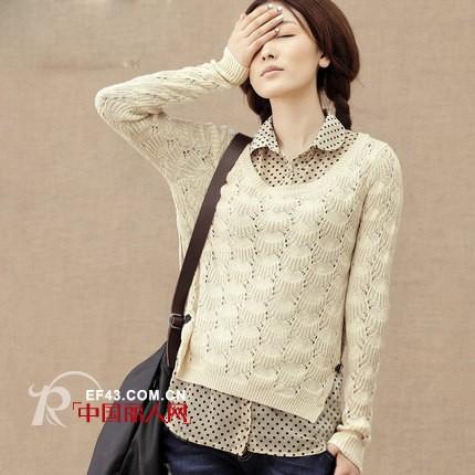 今秋流行的假两件套毛衣 镂空针织衫新款搭配