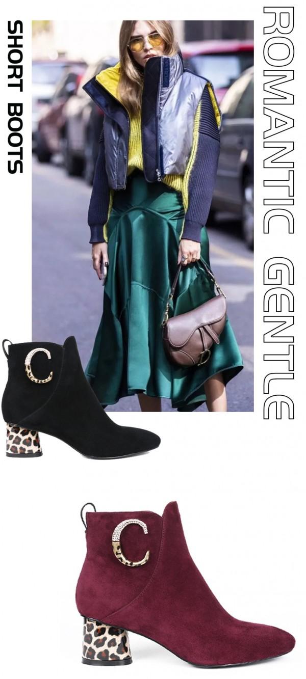 丹比奴短靴+半裙的时髦搭配 原来你穿这么美!