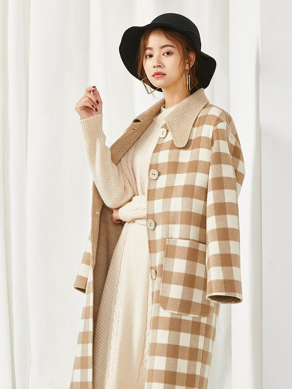 清新简约的格纹大衣搭配 SC女装教你怎么穿