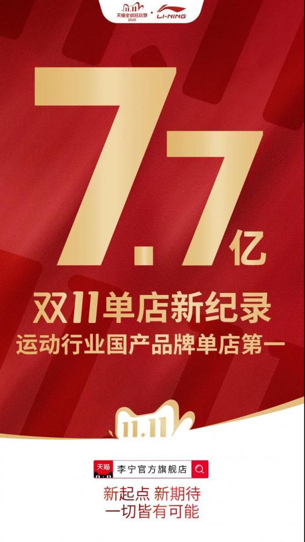 李寧雙11天貓官方旗艦店單店成交額突破7.7億元
