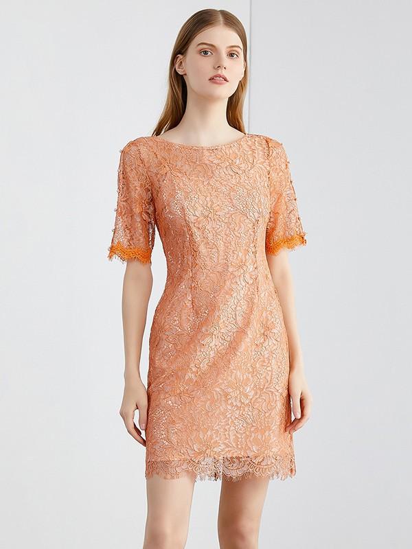 夏天橙色蕾丝连衣裙配搭, 进货什么款式更好看