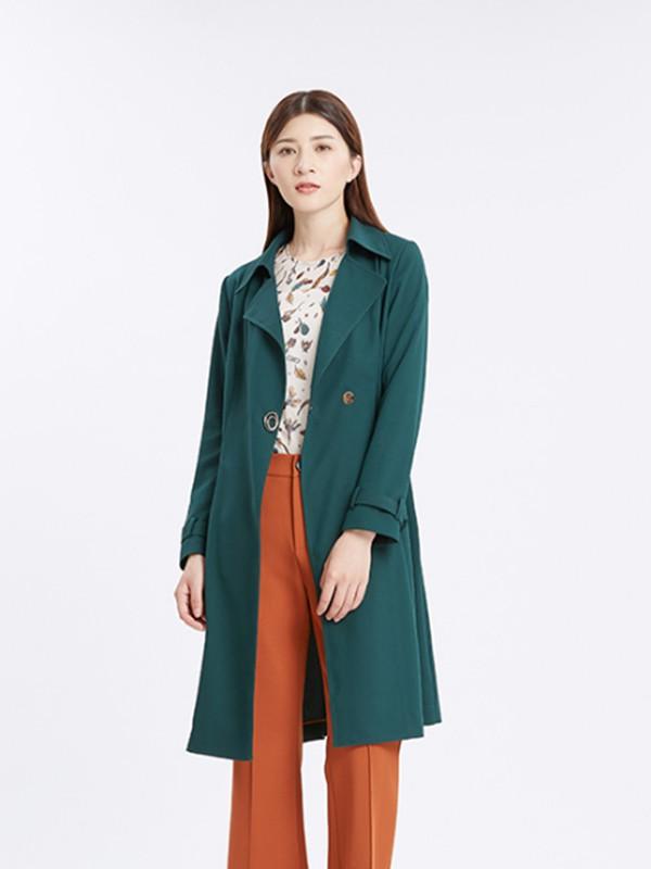 卓影品牌女装2013秋冬新款装蓝绿色呢子大衣