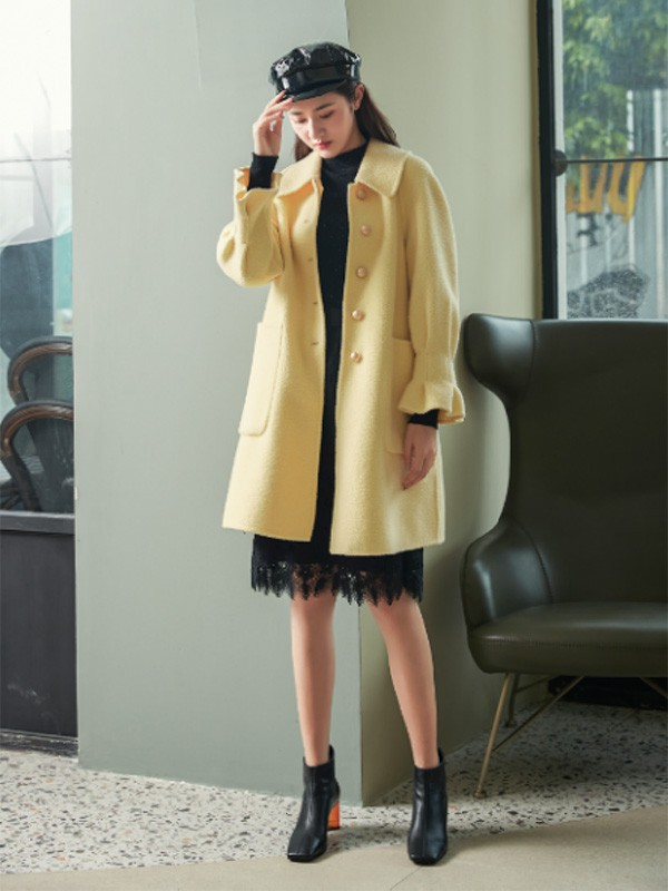 ANOTHER ONE女装2021款秋冬季黄色大衣大衣