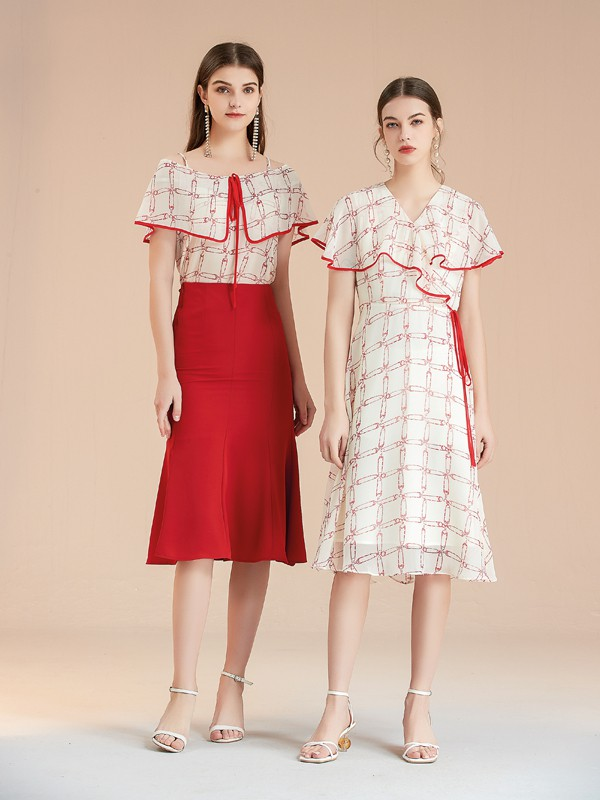 艾丽哲2021春夏季白色荷叶边连衣裙