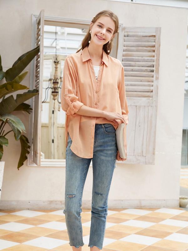 春美多2020秋季橙色纯色衬衫