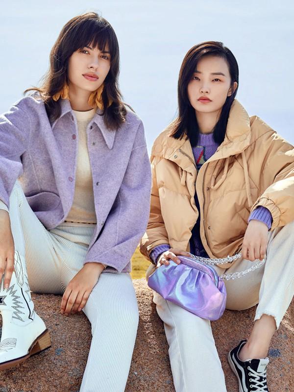 方示2020秋冬季紫色纯色外套