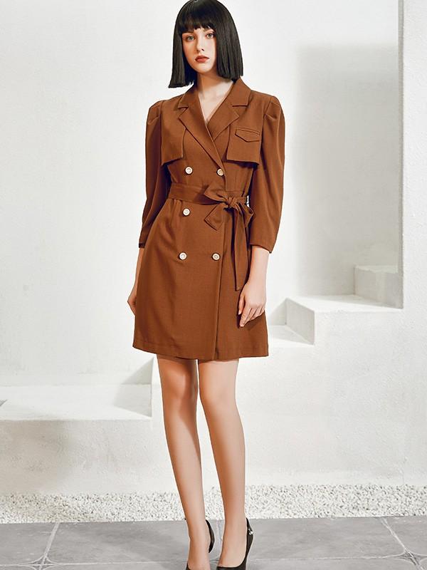 尼赫菲品牌女装2021新款秋冬季职业呢子大衣裙