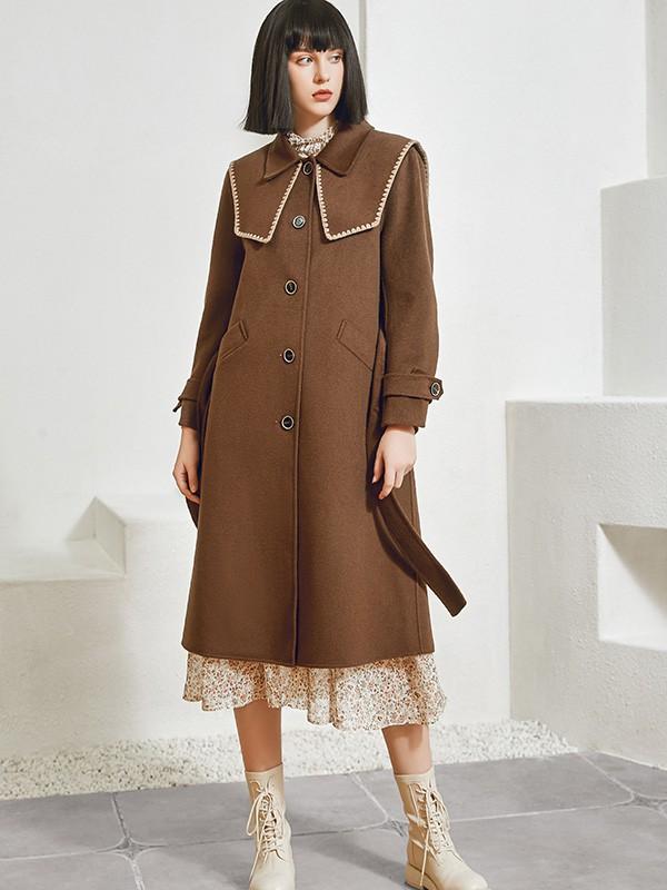 尼赫菲品牌女装2021新款秋冬季花边呢子棕色大衣