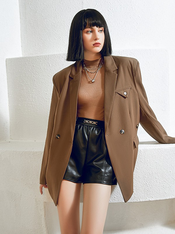 尼赫菲品牌女装2021秋冬季新款棕色西装上衣