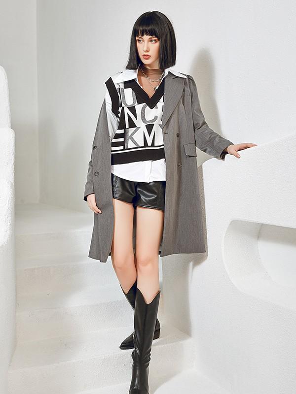 尼赫菲品牌女装2021新款秋冬季灰色风衣