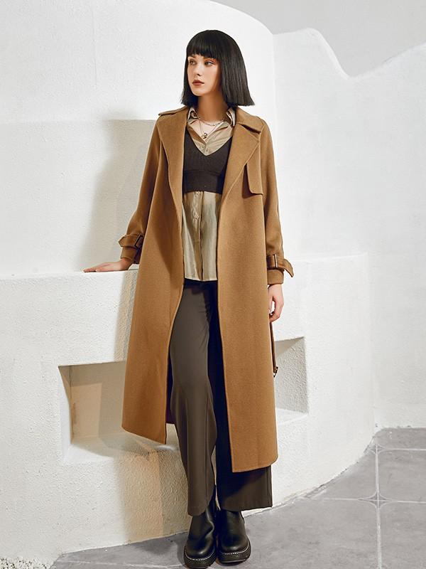 尼赫菲品牌女装2021款秋冬季棕色大衣