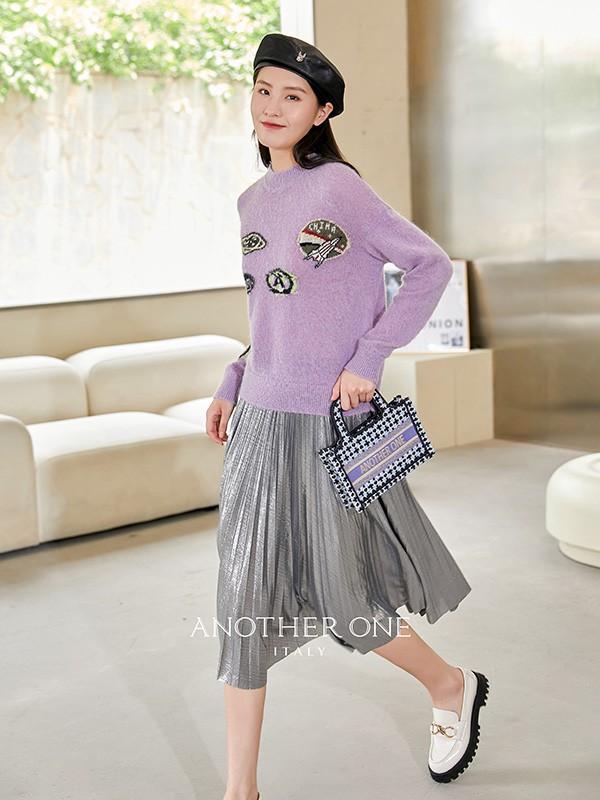 ANOTHER ONE品牌女装2021款秋冬季紫色羊毛衫