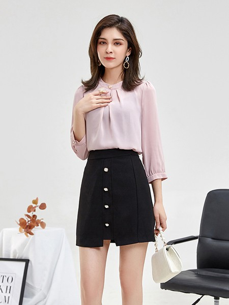 惠挑汇选女装2021款粉色雪纺衫