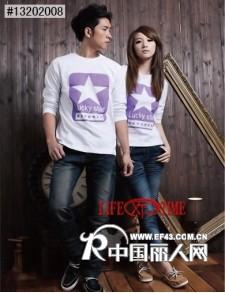 长袖情侣装休闲个性潮流韩版圆领T恤秋装清货