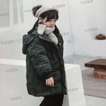 19冬季童装新款女童长款加厚白鸭绒花苞型羽绒服女童纱裙羽绒服