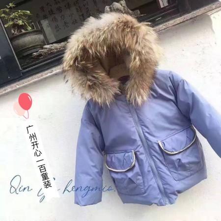 广州品牌童装19年新款羽绒服90白鸭绒羽绒服走份批发