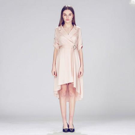 粉色氣質名媛款不規則連衣裙 中長裙 輕奢個性知性