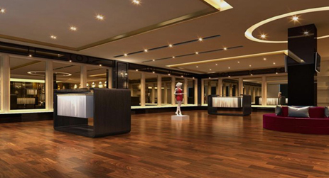 【麗人網服裝店裝修效果圖解讀】在地板上花了很大的心思去構造,高端