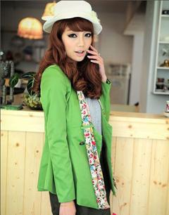 花色围巾领糖果绿修身小西装